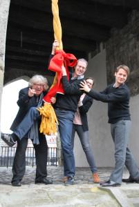 Intendant Christoph Nix, Thomas Spiekermann, Sarah Wiederhold und Andreas Bauer vom Theater Konstanz. (Bild: Martens)