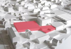 Die neue Schwimmhalle (rot eingefärbt) ergänzt das bestehende Thermalbad Egelsee optimal. (Bild: zvg)