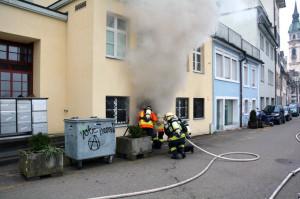 Die Feuerwehr Frauenfeld konnte den Brand rasch löschen. (Bild: Daniel Meili/Kapo TG)