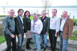 Der Vorstand des Clubs JazzMeile (v.l.): Paul Stähli, Eckbert Bohner, Sabine Köhler, Kurt Lauer, Harry Tschumy, Christian Ammann und Markus Widmer. (Bid: kb)