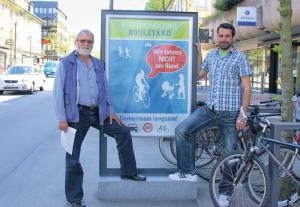 Jost Rüegg und Daniel Moos freuen sich über den Etappensieg. (Bild: sb)