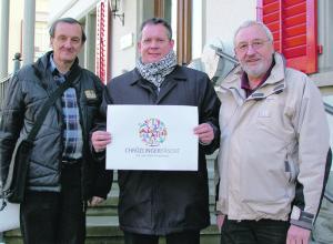 Engagement für's «Fäscht»: OK-Präsident Thomas Niederberger (Mitte) mit Aktuar Rainer Faehndrich (links) und OK-Mitglied Harald Gessner.(Bild: sb)