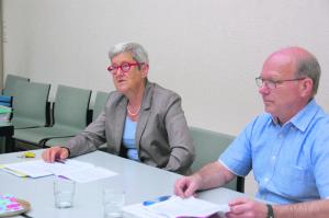 Susanne Dschulnigg, Präsidentin der Kirchenvorsteherschaft, und Kirchenpfleger Kurt Schweizer erklären Rechnung und Traktanden. (Bild: sb)