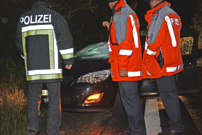 Der Fussgänger wurde auf der Fahrbahn von einem Auto erfasst und schwer verletzt. Durch die Wucht des Aufpralls ging die Windschutzscheibe des Autos zu Bruch.             (Bilder: Kantonspolizei Thurgau)
