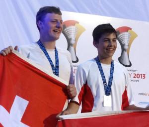 Ivo Junker und Severin Wirth (v.l.) aus Kreuzlingen holten Silber bei der Speed Badminton-WM.
