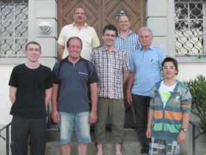 Einzelsieger Gewehr und Pistole von links nach rechts: Dennis Hangartner, Hansjörg Weibel, Oskar Brunschwiler, Kurt Hitz, Daniel Schnyder, Werner Rüsi, Sulivan Thür. (Bild: zvg)
