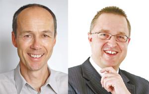 Marcel Manser (links) und Beat F. Hekler wollen Gemeindeammann in Güttingen werden. (Bild: zvg)