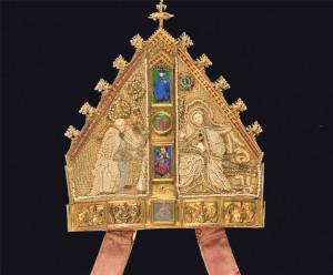 Die Mitra ist im Besitz des Historischen Museums Thurgau und wird an der Grossen Landesausstellung zu sehen sein. (Bild: zvg)