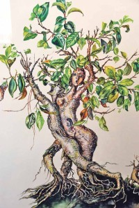 Verwandelt sich der Baum im Aquarell von Kundry in eine Figur? (Bild: kb)