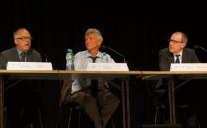 Thomas Götting (BAFU), Nationalrat Thomas Böhni (GLP) und   Kohl (Swissmem, v.l.) auf dem Podium. (Bild: zvg)