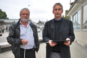 Jost Rüegg und Stefan Zbornik vom Verein Strahlungsfreies Kreuzlingen. (Bild: Thomas Martens)