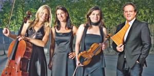 Das Trio Artemis und Panflötenspieler Urban Frey. (Bild: zvg)