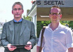 Zum zweiten Wahlgang wollten eigentlich nur Stefan Zbornik (l.) und Michael Stahl antreten. Zbornik hat sich bisher vor allem als Aktivist im Kampf gegen Mobilfunkantennen einen Namen gemacht. Stahl vertritt einen bürgerlich-liberalen Standpunkt, ist aber nicht Mitglied der FDP. (Bild: sb)