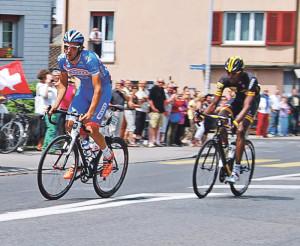 Laurens de Vrees (Belgien) und Daniel Teklehaimanot (Eritrea) eilten in Kreuzlingen dem Feld mehr als zwei Minuten voraus. (Bild: Thomas Martens)