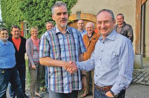 Stadtratskandidat Thomas Beringer (r.) mit EVP-Präsident Thomas Leuch.