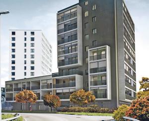 Eine Visualisierung des neuen Hochhauses, dahinter Gardencity. (Bild: zvg)