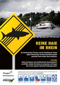 """Die aktuelle Kampagne """"Keine Haie im Rhein"""" warnt vor den Gefahren des Fliessgewässers. (Bild: Kapo TG)"""