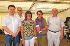Mit gutemBeispiel voran: (V.l.) Cyrill Schmidiger, DanieleScardino, StadträtinDorena Raggenbass, Margret Meier-Ammann und Karl Kohli. (Bild: sb)