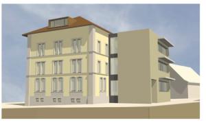 Visualisierung der Westfassade. (Bild: zvg)