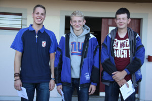 Der letzte Schuss entschied bei den U 20, von links: Valentin Koch (3., Lustdorf), Luca Bosshard (1., Balterswil-Ifwil) und Manuel Lattmann (2., Balterswil-Ifwil). (Bild:  Christof Lampart)