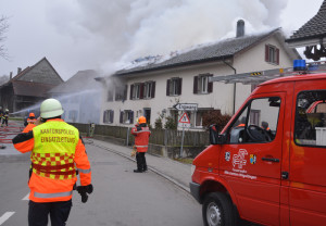 Beim Brand entstand Sachschaden von mehreren hunderttausend Franken. (Bild: Matthias Graf/Kapo Thurgau)