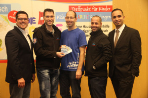 (Von links nach rechts) Uwe Simml, Mario Jetzer, Mathias Wegmüller (Arche Kreuzlingen), Enzo Schrembs, Riccardo Cafiero. (Bild: zvg(