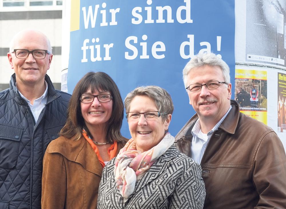 Stadtammann Andreas Netzle und die Stadträte Dorena Raggenbass, Barbara Kern sowie Ernst Zülle (v.l.) treten als Team bei der Erneuerungswahl am 8. März an. (Bild: zvg)