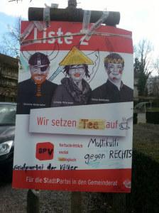 Das verzierte Wahlplakat. (Bild: SP Kreuzlingen)