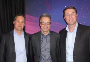 (V.l. n.r.) Simon Boss, neu im Vorstand, Patrick Wiget, neuer Präsident, David Grimm, scheidender Präsident, neues Ehrenmitglied. (Bild: zvg)