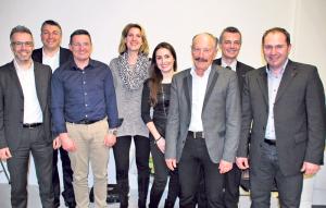 Der neue Vorstand von Gewerbe Kreuzlingen (v.l.): Patrick Wiget, Werner Meister, Andreas Haueter (Präsident), Silvia Cornel, Suzanne Müller (Kassier), Rolf Soller, Urban Ruckstuhl und Alf Bischoff. (Bild: Thomas Martens)