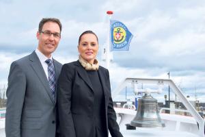 Mit dabei ist auch die «Weisse Flotte» von  Remo Rey, Geschäftsführer der Schifffahrtsgesellschaft Untersee und Rhein, sowie von Andrea Ruf, CEO der Schweizerischen Bodensee Schifffahrt. (Bild: Thomas Martens)