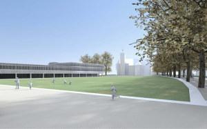 Visualisierung des Siegerprojekts: Der Entwurf lässt freie Sicht auf die Basilika zu. (Bild: zvg)