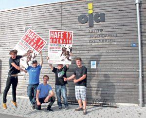 Cyrill Appert (v.l.), Bastian Ehrmann, Valentin Wild, Tobias Mahlbacher und Manuel Krapf werden ein buntes Musikprogramm auf die Bühne stellen, bestehend aus international bekannten Rockabilly-Klängen und ganz frischem Indie-Rock-Blut aus Kreuzlingen.