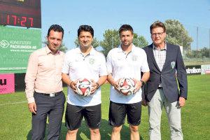 (V.l.) Sportchef Roman Brändle, Chef-Trainer Aydemir Demir, Co-Trainer Damian Gimenez Boente und Präsident Daniel Geisselhardt.(Bild: Mario Gaccioli)