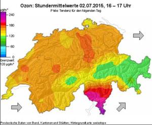 Auch in den kommenden Tagen werden hohe Ozonwerte erwartet. (Bild: zvg)