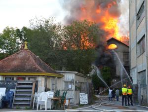 Beim Grossbrand auf einem ehemaligen Fabrikareal in Horn entstand hoher Sachschaden. (Bild: Matthias Graf, Kantonspolizei Thurgau)