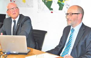 Andreas Netzle und Finanzchef Thomas Knupp zum Budget 2016. (Bild: Thomas Martens)