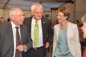 Alt-Bundesrat Christoph Blocher, Grossratspräsident Max Arnold, Nationalrätin Verena Herzog. (Bild: zvg)