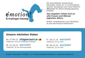 """Flyer der Sportveranstaltung """"e'motion"""". (Bild: zvg)"""