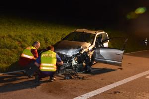 Der Autofahrer verstarb nach der Kollision noch auf der Unfallstelle. (Bild: Daniel Meili / Kapo TG)