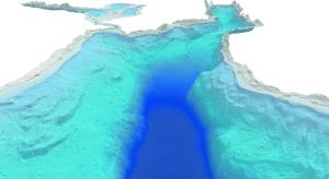 Geländemodell des Bodensees in Richtung Konstanzer Bucht und dem Überlinger See mit der Insel Mainau (Bild: Institut für Seenforschung)