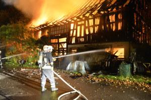 Das Wohnhaus und die Scheune wurden durch den Brand weitgehend zerstört. (Bild: Kapo TG)