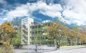 Das geplante Parkhaus in einer Visualisierung. (Bild: zvg)