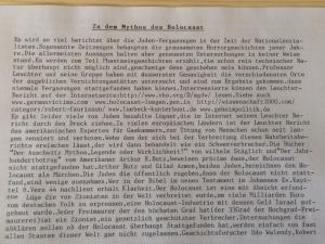 Der Holocaust wird im FLyer als Phantasiegeschichte abgetan. (Bild: zvg)