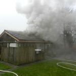 Bildlegende: Beim Brand in einem Partyhaus wurde niemand verletzt.  (Bild: Kapo TG)