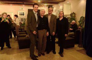 (V.l.) Eric Thiel vom Stadtmarketing, Frank Lettenewitsch, Paul Stähli und Claudia Brier vom Theater Konstanz. (Bild: Marion Baumeister)