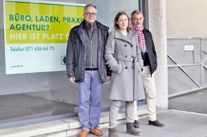 Die SP hatte eine Zwischennutzungsagentur gefordert (auf dem Bild die Gemeinderäte Andreas Hebeisen (l.) und Thomas Winterhalter sowie Architektin Elina Müller). (Bild: archiv)