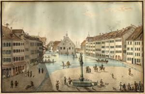 Die Marktstätte Konstanz im Jahr 1817. Foto Napoleonmuseum Thurgau. (Bild: zvg)