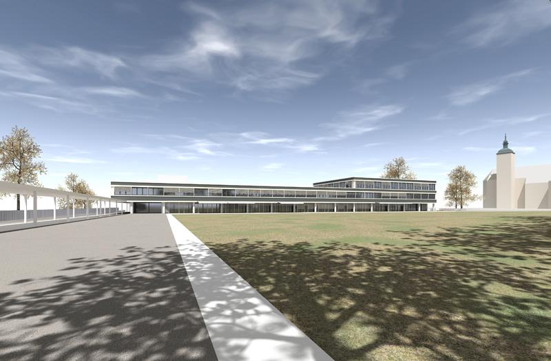 Schlanker Bau: Das geplante Stadthaus auf der Festwiese. (Bild: IDK)