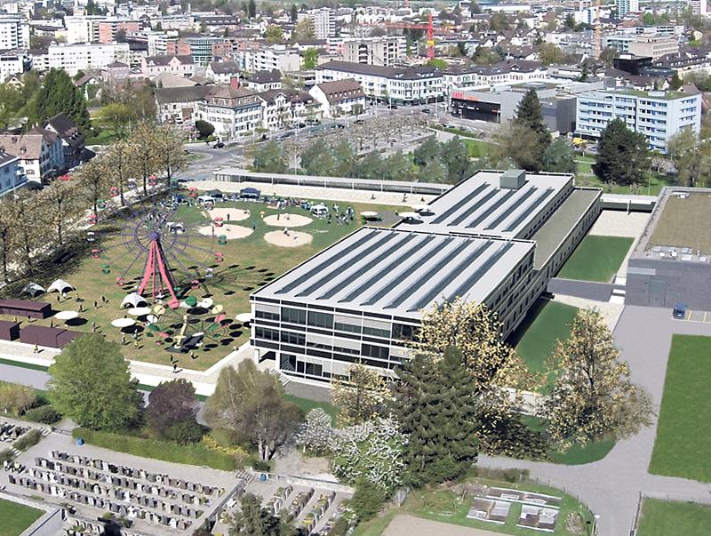 Diese Luftaufnahme zeigt se hr schön die Dimensionen des geplanten Stadthauses. (Bild: Gaccioli)